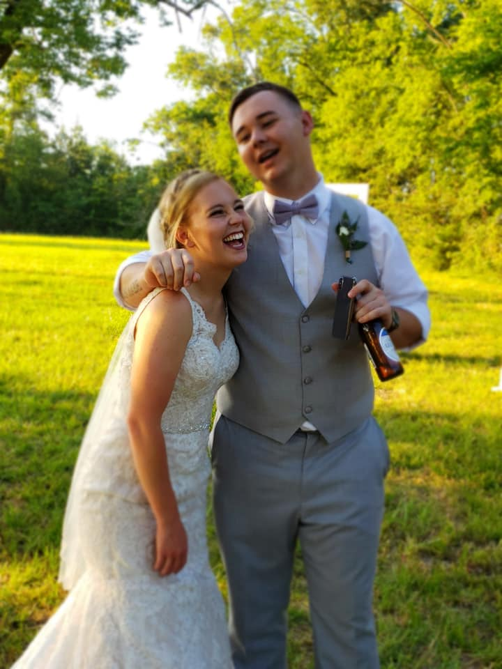 happy couple at wedding venue at Union Ranch